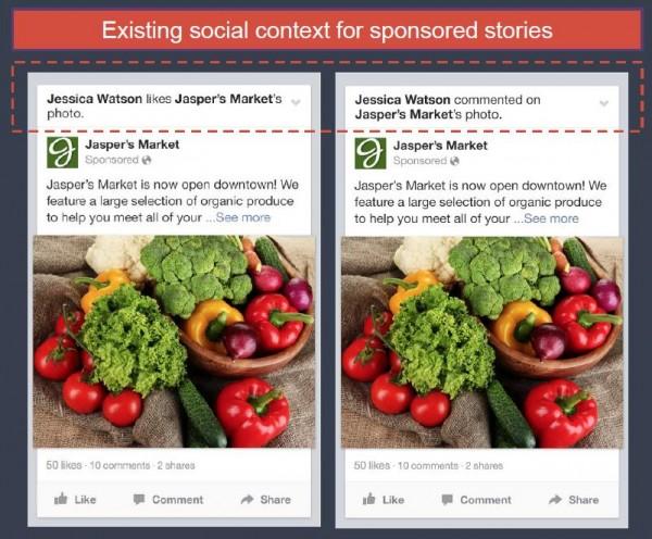 Sozialer Kontext bei Sponsored Page Post Stories