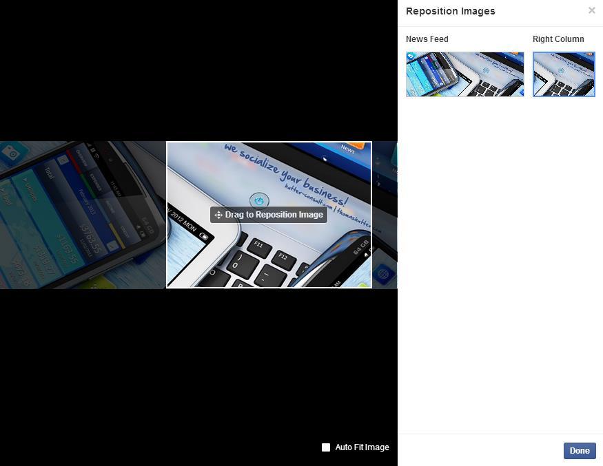 Repositionierung von Bildern für Page Like Ads