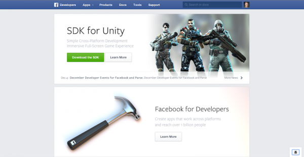 Redesign Facebook Developer Page (Quelle: Facebook)