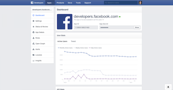 Redesign Developer Page (Quelle: Facebook)
