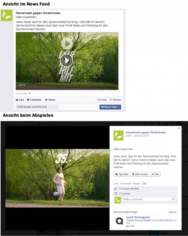 Facebook Video mit Page Post Video Ad