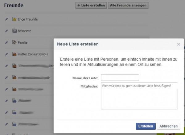 Neue Facebook Freundesliste erstellen