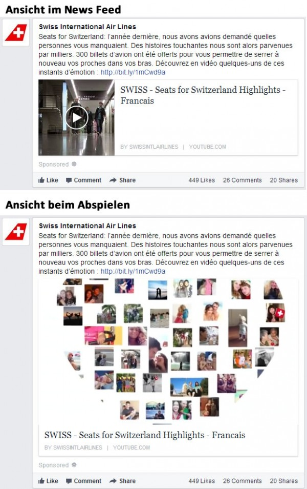 Page Post Link Ad mit YouTube Video