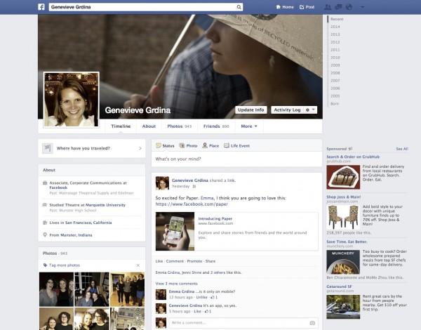 Das Original Profile in Facebook im Jahre 2014 (Quelle: Facebook)