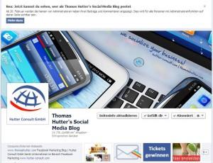Information im Administrationsbereich von Facebook Seiten