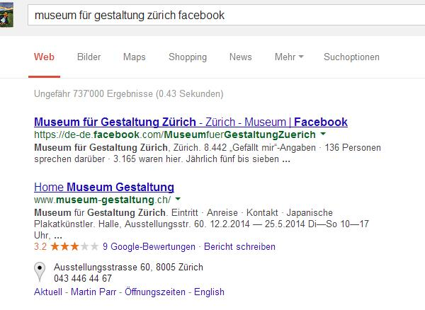 """Suche nach """"Museum für Gestaltung Zürich Facebook"""" bei google.ch"""