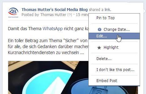 Editieren von bereits publizierten Beiträgen auf Facebook Seiten