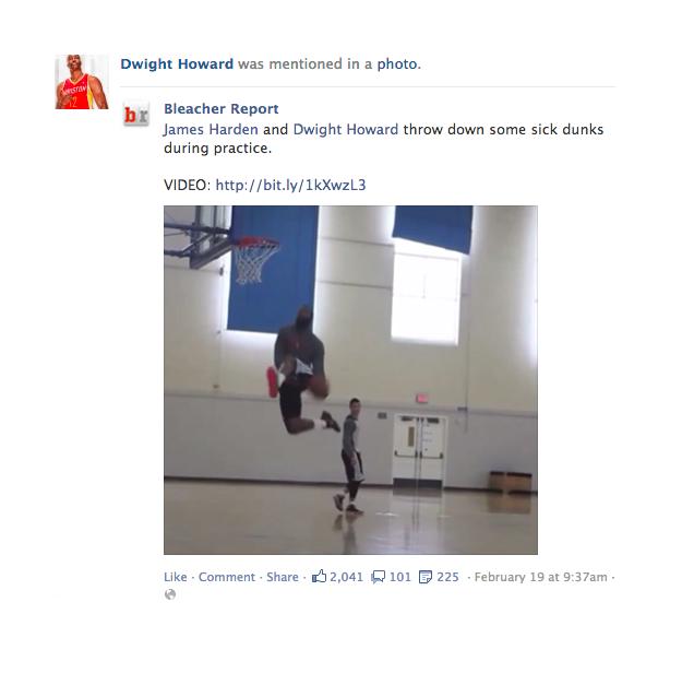 Beispiel im News Feed mit einer Story über Dwight Howard via Bleacher Report (Quelle: Facebook)