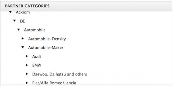 Auswahlmöglichkeit von Partner Categories im Power Editor (Quelle: Facebook)