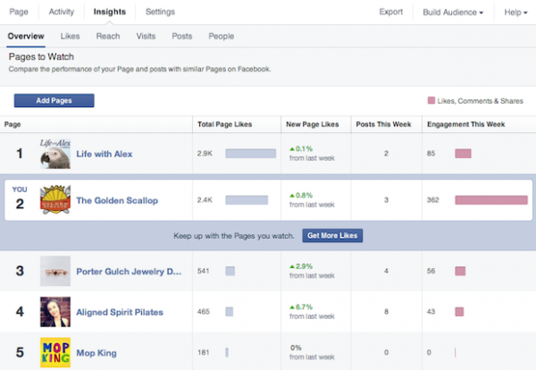 "Neue Insights Funktion ""Pages to Watch"" (Quelle: Facebook)"