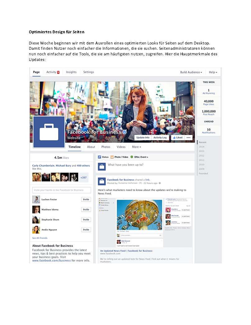 Facebook Seiten - neues optimiertes Design (Quelle: Facebook)