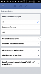 Einstellungen in der Seitenmanager Mobileapplikation