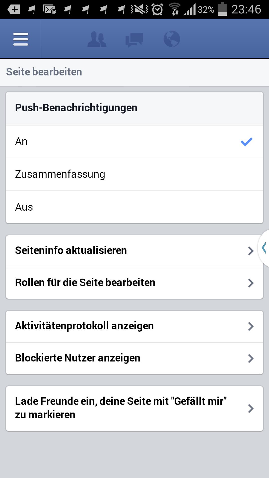 Einstellungen in der Seitenmanager Mobileapplikation