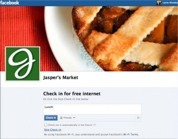 Facebook Wi-Fi Check-In Seite (Quelle: Facebook)