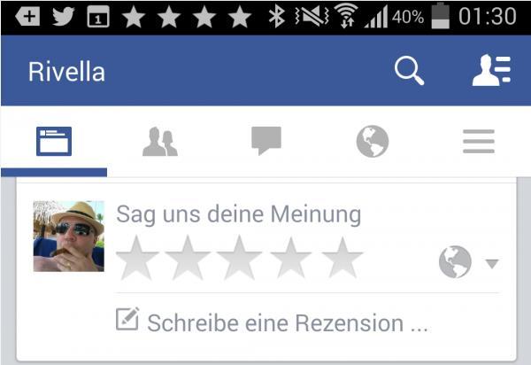 Rezensionsaufforderung in der Android App von Facebook