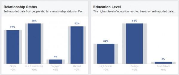 Beziehungsstatus und Ausbildung der Facebook Nutzer aus Österreich (Quelle: Facebook Audience Insights)