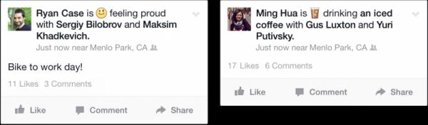 Statusupdates mit Emoticons (Quelle: Facebook)