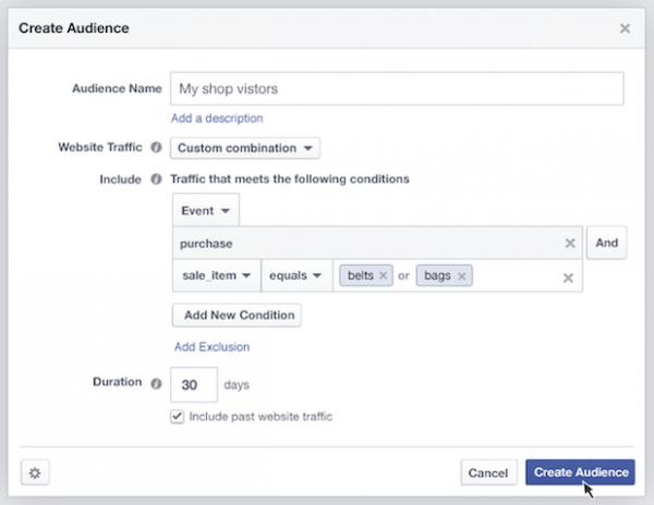 Custom Audience mit Daten aus der Vergangenheit aufbauen (Quelle: Facebook)