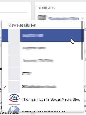 Auswahlmöglichkeit der zum Konto gehörenden Facebook Seiten