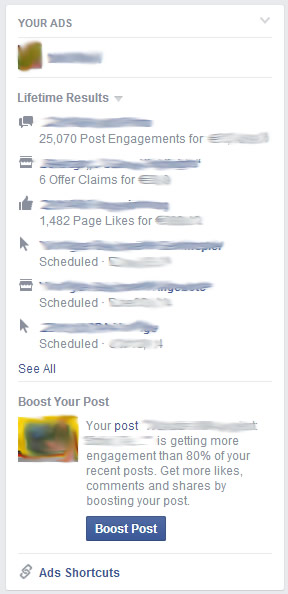 Facebook Ads Dashboard Startseite