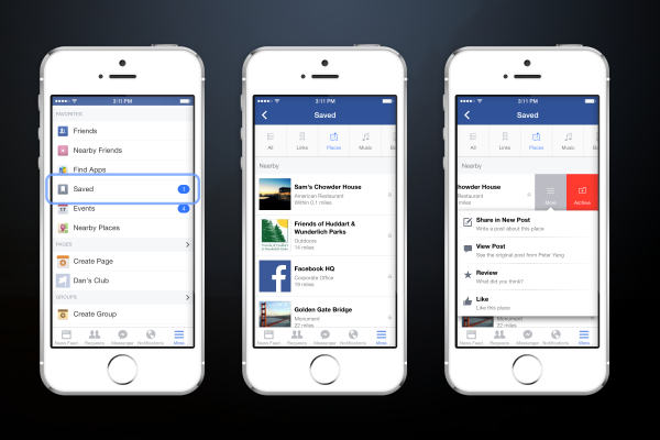 Save-Funktion von Facebook (Quelle: Facebook)