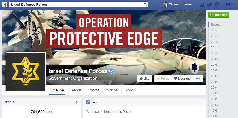 Facebook Seite der Isreal Defense Force
