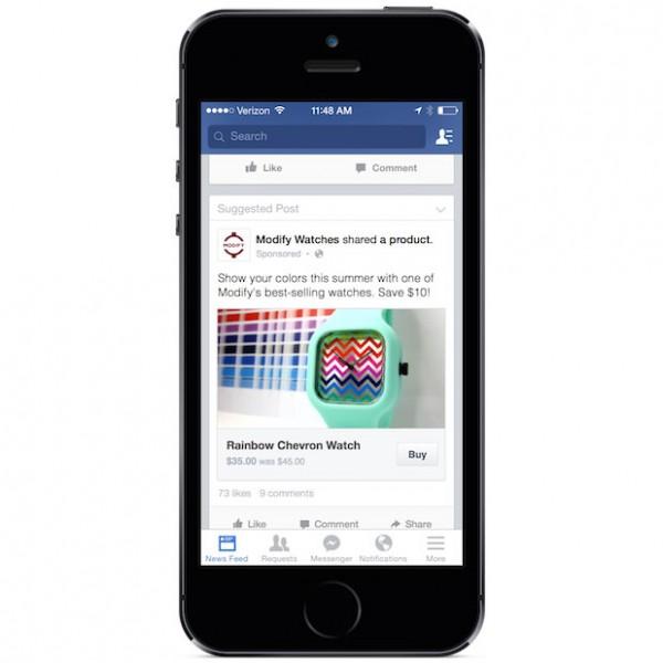 """Testansicht """"Shopping in Facebook"""" (Quelle: Facebook)"""