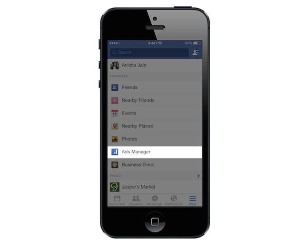 Menüpunkt in der Mobile App von Facebook (Quelle: Facebook)