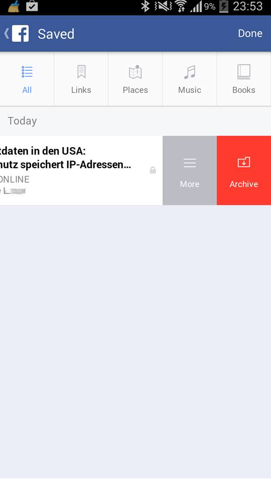 Übersicht der gespeicherten Inhalte auf dem Mobile (Android)
