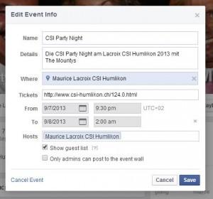 abgelaufene Facebook Events bearbeiten