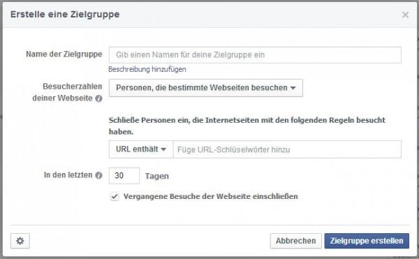 """Custom Audience erstellen """"Personen, die bestimmte Webseiten besuchen"""""""