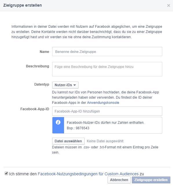 Custom Audience von Facebook User ID nur noch mit App ID