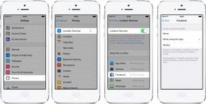 Einstellungen zu den Standortinformationen in iOS 8 (Quelle: Facebook)
