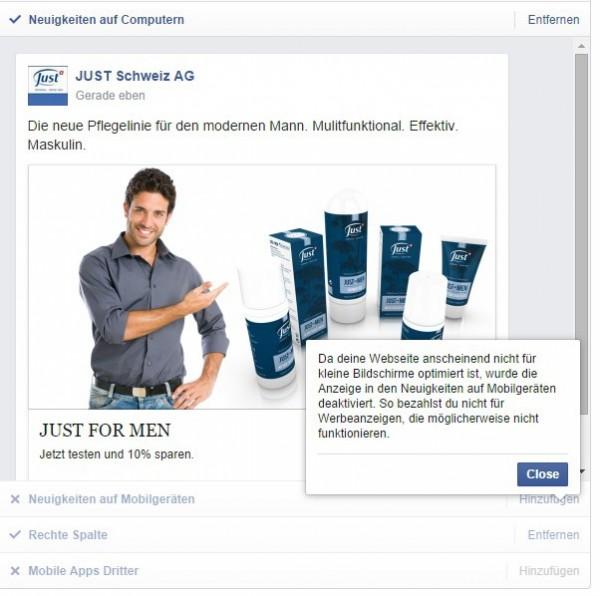 Warnhinweis von Facebook bei nicht mobile tauglichen Seiten