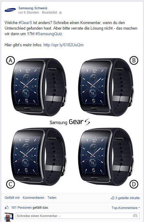 Beitrag auf der Facebook Seite von Samsung Schweiz