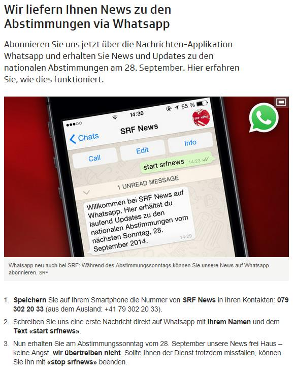 Screenshot der WhatsApp Info auf srf.ch
