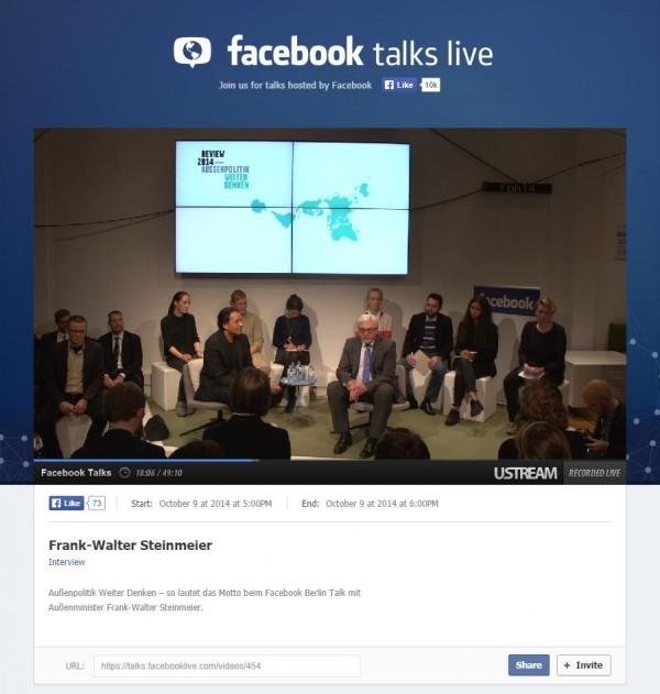 Facebook Talk Berlin mit Frank-Walter Steinmeier