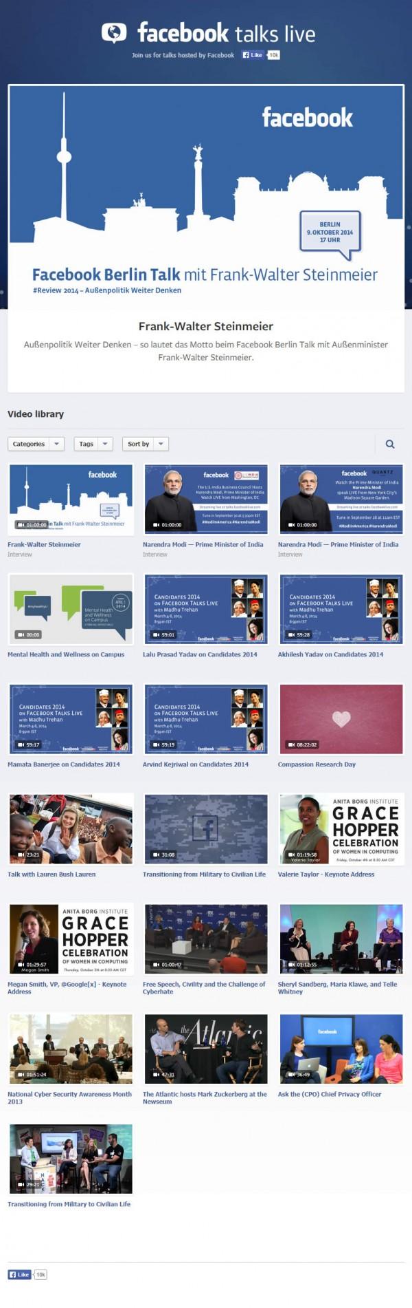 Übersicht der Facebook Talk Videos