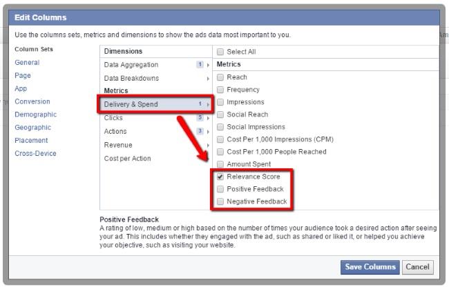 Auswahlmöglichkeiten im Reporting für Relevanzwert, positives und negatives Feedback (Quelle: allfacebook.com)