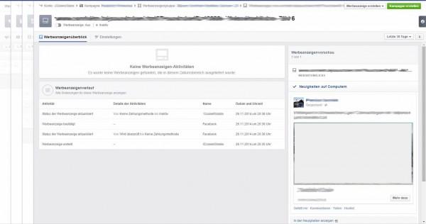 facebook so sieht der neue werbeanzeigenmanager aus. Black Bedroom Furniture Sets. Home Design Ideas