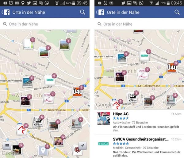 Nearby in der Facebook Mobile App