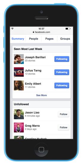 Schnelles folgen und entfolgen von Personen, Seiten und Gruppen (Quelle: Facebook)