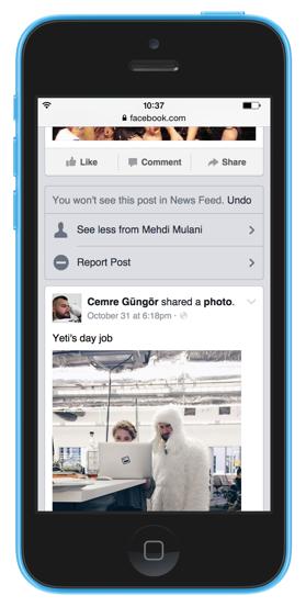 Direktes Feedback über ungewünschte Inhalte im News Feed (Quelle: Facebook)