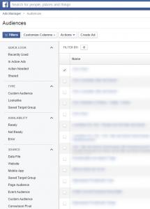 Facebook - Auswahlmöglichkeiten von Zielgruppen
