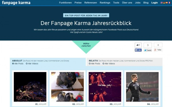 Collage von Deutschlands Top Postings 2014