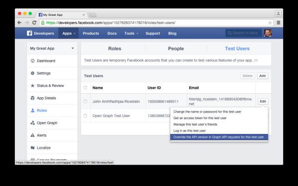 API Dashboard mit Möglichkeit zur API Umstellung für einen Nutzer (Quelle: Facebook)