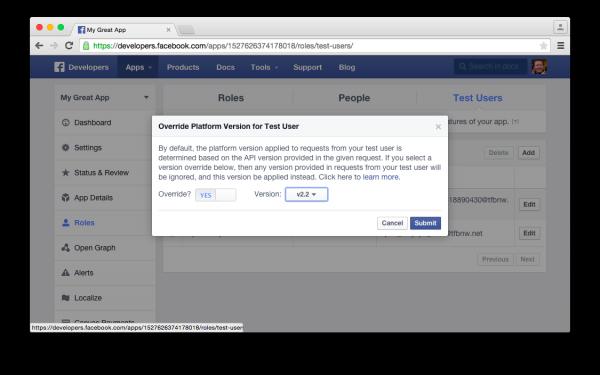 Überschreibmöglichkeit der API Version für einen Test Nutzer (Quelle: Facebook)