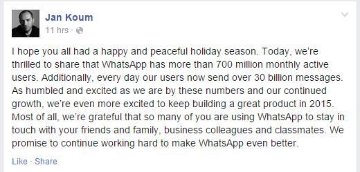 Facebook Statusmeldung von Jan Koum