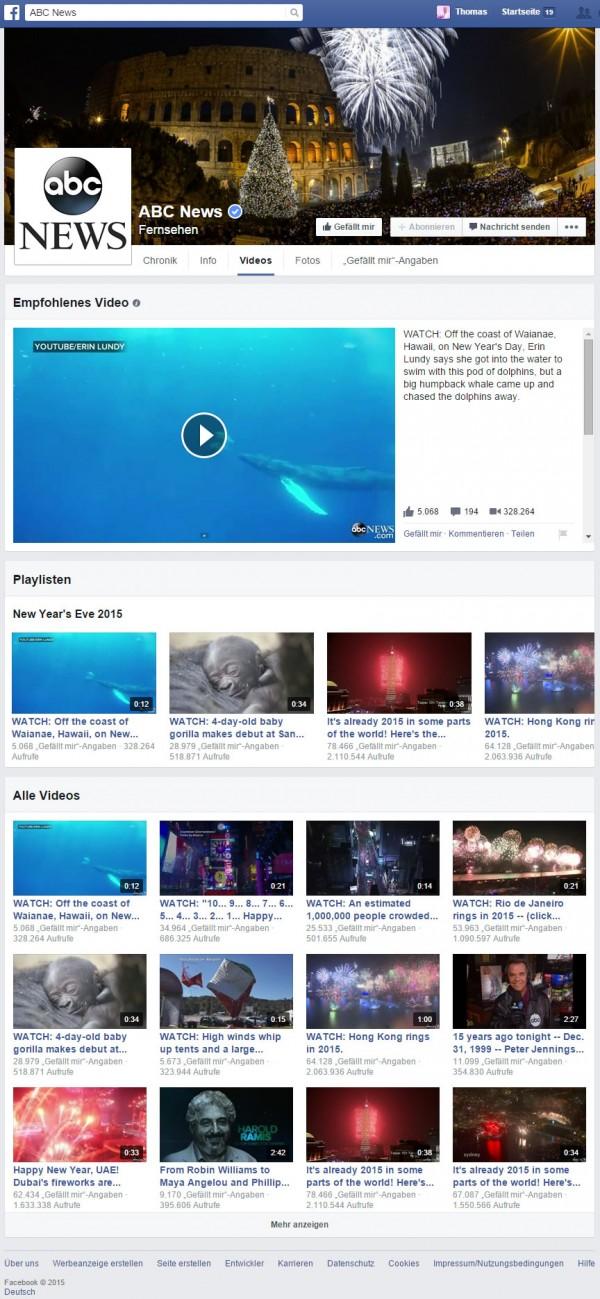 """Videotab bei ABC News mit """"Featured Video"""" und """"Playlists"""""""