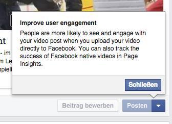 Meldung beim Publizieren eines Links zu YouTube (Screenshot von Andreas Kücker)